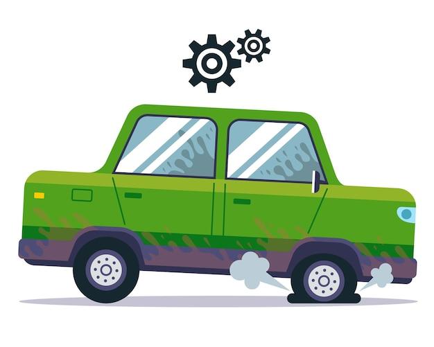 L'auto ha una gomma a terra. foratura di una ruota in pista. illustrazione vettoriale piatto.