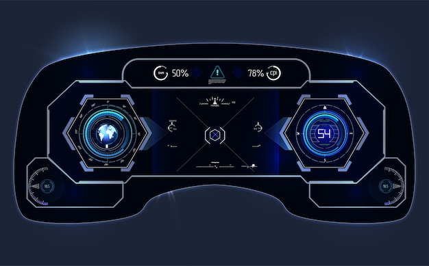 Cruscotto hud per auto. interfaccia utente astratta touch. interfaccia utente futuristica hud ed elementi infografici.