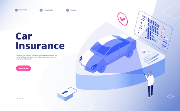 Concetto di assicurazione auto. pagina di atterraggio del modulo di reclamo di assicurazione di sicurezza di incidente d'auto di incidente d'auto del ladro dell'infortunio di incidente danneggiato