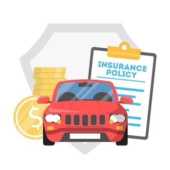 Concetto di assicurazione auto. idea di protezione del veicolo dagli incidenti