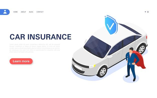 Concetto di assicurazione auto. l'agente assicurativo garantisce la protezione del veicolo. illustrazione isometrica di vettore.