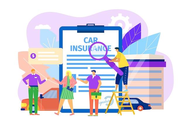 Concetto di assicurazione auto con le persone