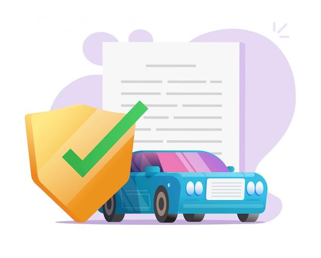 Documento di contratto di protezione di copertura assicurativa auto con scudo o veicolo auto garanzia assicurazione documento legale vettore politica illustrazione piatta