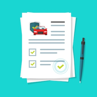 Illustrazione del rapporto del documento di assicurazione auto, lista di controllo del contratto di carta del fumetto o elenco di moduli di segni di spunta del prestito approvato con l'icona dell'automobile sotto l'ombrello, accordo finanziario e legale del veicolo