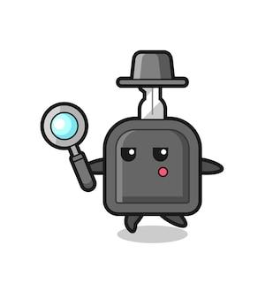 Personaggio dei cartoni animati chiave dell'auto che cerca con una lente d'ingrandimento, design in stile carino per maglietta, adesivo, elemento logo