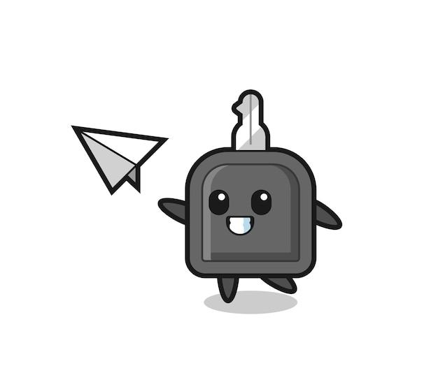 Personaggio dei cartoni animati chiave dell'auto che lancia aeroplano di carta, design in stile carino per maglietta, adesivo, elemento logo