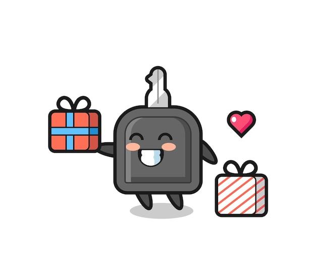 Cartone animato mascotte chiave auto che fa il regalo, design in stile carino per maglietta, adesivo, elemento logo