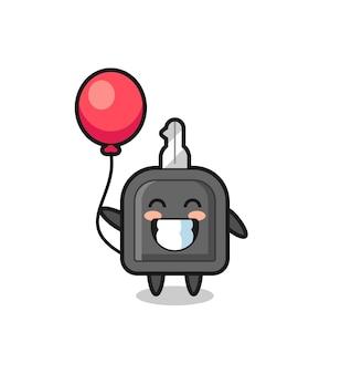 L'illustrazione della mascotte della chiave dell'auto sta giocando a un palloncino, un design in stile carino per maglietta, adesivo, elemento logo