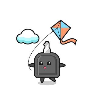 L'illustrazione della mascotte della chiave dell'auto sta giocando a un aquilone, un design in stile carino per maglietta, adesivo, elemento logo