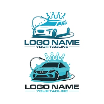 Modello di logo di lavaggio auto re