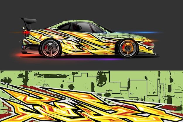 Livrea auto grafica vettoriale con disegno astratto a forma di corsa