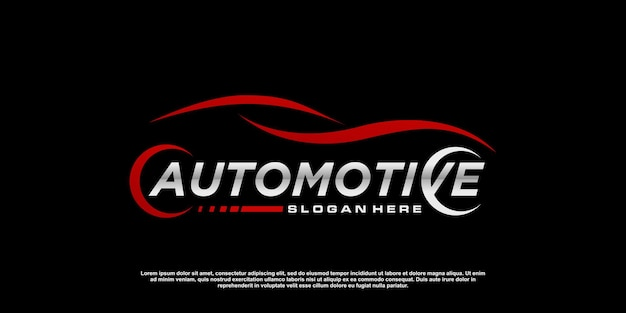 Design del logo dell'auto automobilistico con un concetto moderno vettore premium