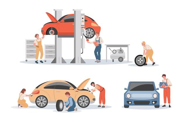 Illustrazione di servizio di manutenzione auto