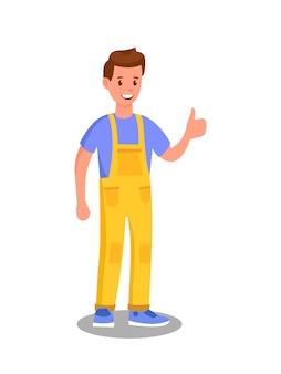 Illustrazione del lavoratore di servizio di manutenzione dell'automobile
