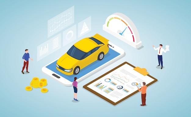 Il concetto di analisi del mercato dell'automobile con un certo grafico e dati di grafico riportano con stile isometrico moderno