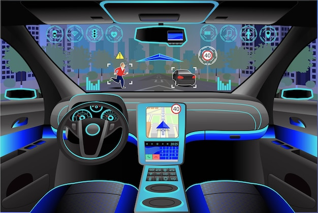 Auto interni moderni, vista dall'abitacolo all'interno. illustrazione. intelligenza artificiale