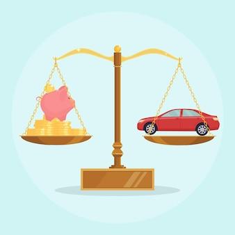 Auto e denaro sull'equilibrio scale illustrazione Vettore Premium