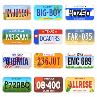 Illustrazione di simbolo di registrazione della licenza automatica del piatto numerata vettore di numero di automobile