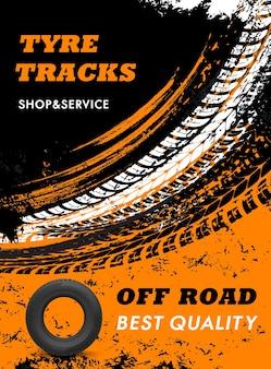 Negozio di pneumatici per auto fuoristrada e poster grungy di servizio