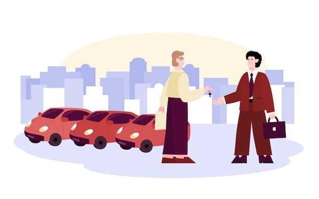 Il proprietario dell'auto consegna le chiavi all'illustrazione del cliente