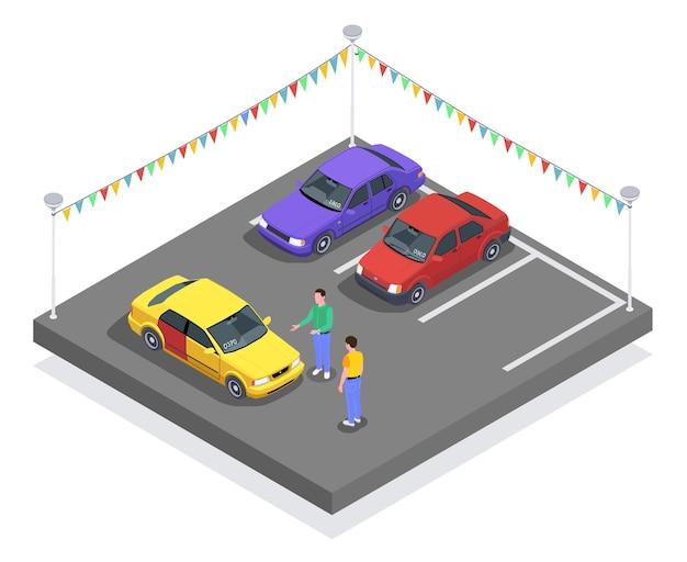 Composizione isometrica di utilizzo di proprietà di auto con auto nel parcheggio e personaggi del venditore e dell'acquirente