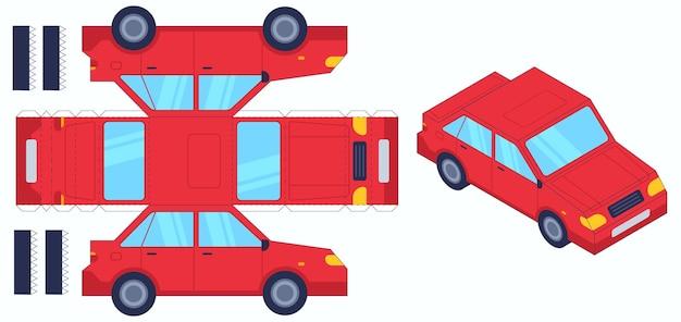 Giocattolo tagliato a carta per auto. crea giocattoli da solo, taglia e incolla la carta auto, gioco di artigianato per bambini. enigma educativo divertente, insieme di vettore di intrattenimento per bambini. apprendimento della modellazione, illustrazione del gioco del puzzle