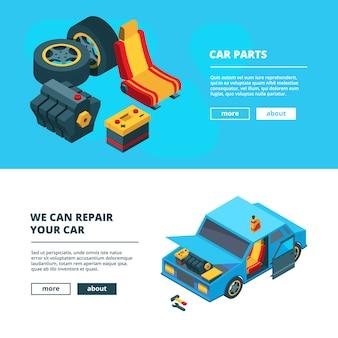 Banner di parti di automobili. manutenzione auto con raccolta isometrica batterie accumulatore ruote ingranaggi motore trasmissione utensili specifici