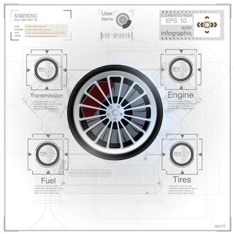 Set di icone di parti di automobili. illustrazione realistica delle icone di parti di automobili per il web
