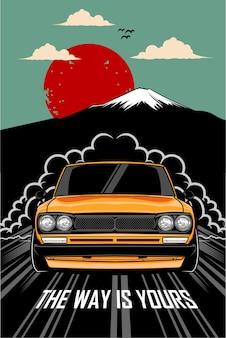 Illustrazione del manifesto dell'automobile