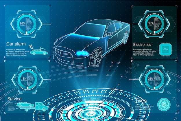 Proiezione di auto. hud ui. interfaccia utente di tocco grafico virtuale astratto.