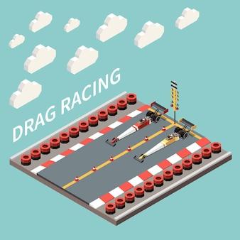 Illustrazione isometrica di gara automobilistica