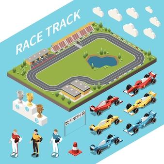 Insieme isometrico della corsa automobilistica dell'area della pista da corsa e delle icone isolate delle auto dei premi e dell'illustrazione dei piloti