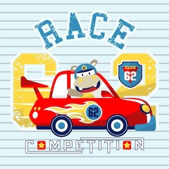 Fumetto di corse automobilistiche con corridore carino su sfondo a strisce