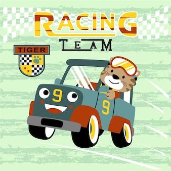 Fumetto di corse automobilistiche con simpatico corridore