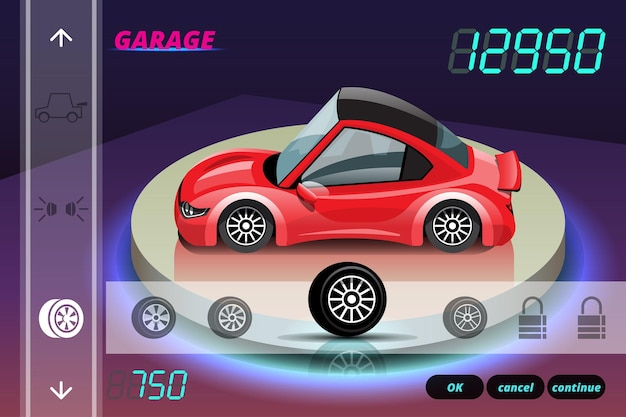 Gioco di corse automobilistiche nel menu del display