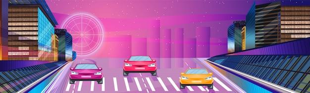Banner notturno di auto da corsa Vettore Premium