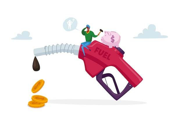 Rifornimento di carburante sull'illustrazione della stazione di rifornimento