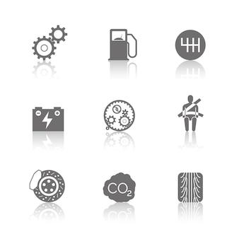 Icone relative all'automobile su priorità bassa bianca. illustrazione vettoriale