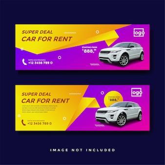 Modello di annuncio banner copertina facebook di noleggio auto