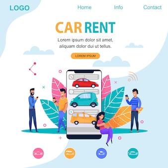 Pagina di destinazione del noleggio auto. illustrazione di persona piatta.
