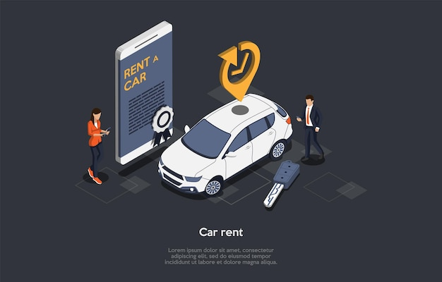 Concetto di servizio online di noleggio auto. il cliente ha noleggiato un'auto per viaggi d'affari o vacanze. prenotazione e prenotazione del veicolo. smartphone con moderna app mobile per noleggio auto. Vettore Premium