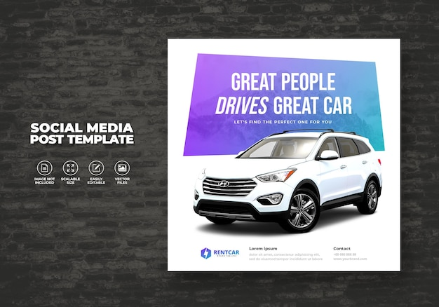 Noleggio e vendita auto per promozione modello vettoriale banner post square social media