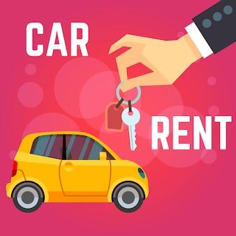 Illustrazione di vettore di noleggio auto. automobile gialla di stile piano, mano che tiene le chiavi.
