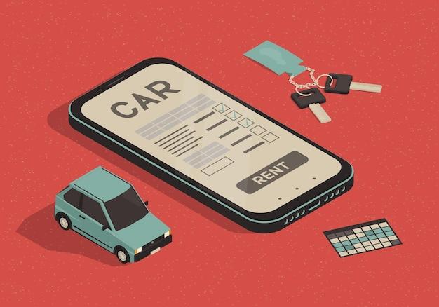 Illustrazione dell'applicazione di noleggio auto con smartphone e auto