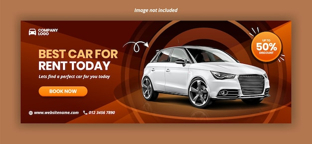 Modello di banner copertina facebook di promozione noleggio auto