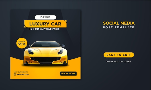 Modello di post sui social media per la promozione del noleggio auto