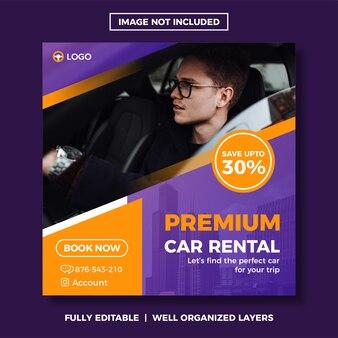 Modello di post sui social media per noleggio auto.