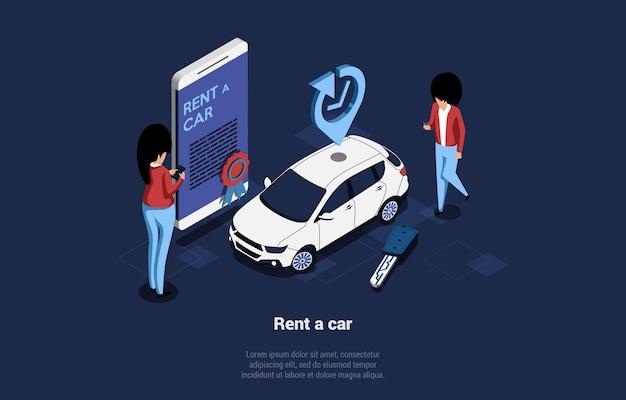 Illustrazione isometrica concettuale di applicazione mobile di servizio di noleggio auto