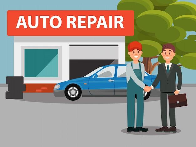 Servizio automatico di riparazione dell'automobile, meccanici in uniforme e illustrazione stringere delle mani del cliente