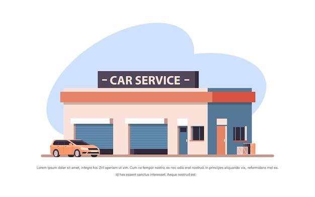 Concetto di servizio di riparazione auto veicolo giallo vicino edificio della stazione copia spazio illustrazione vettoriale orizzontale